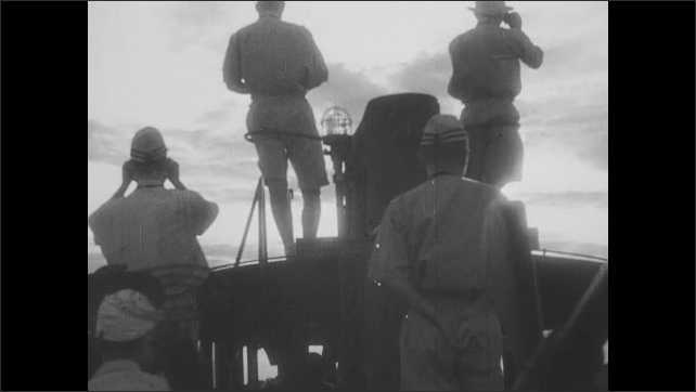 1940s Japan: pressure gauges, men looking through binoculars as ship sails