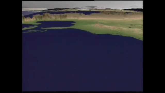 1990s: Animation of coastline, satellite in orbit. House, farm, field, crops. Plow on field. Cows. In orbit around Earth.