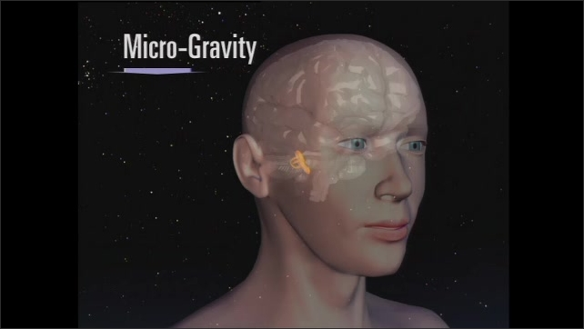2000s: Computer animation of gravity effecting brain in person. Astronauts onboard spacecraft.
