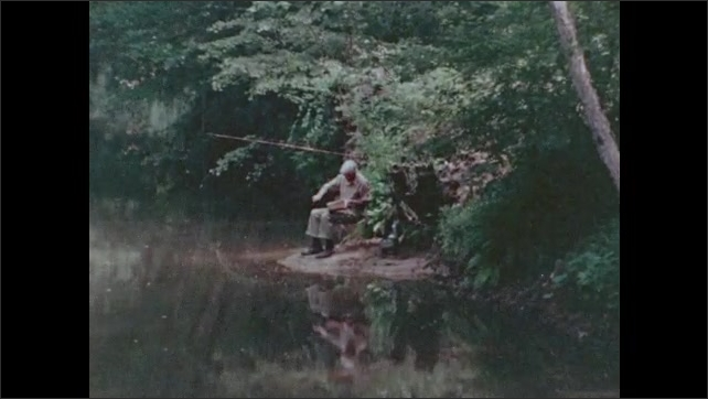 1970s: Long shot of forest, man sitting by lake, zoom in on man carving wood. View of woods, tree falling.