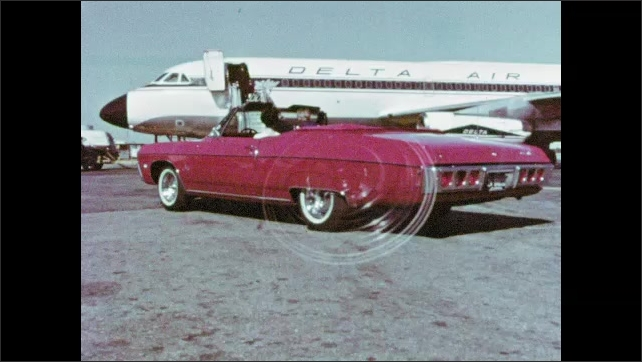 1970s: Car drives down road next to beach. Woman drives car up to airplane, waves. Man exits airplane. Woman parks by pool, woman and child exit car, join other women by pool.