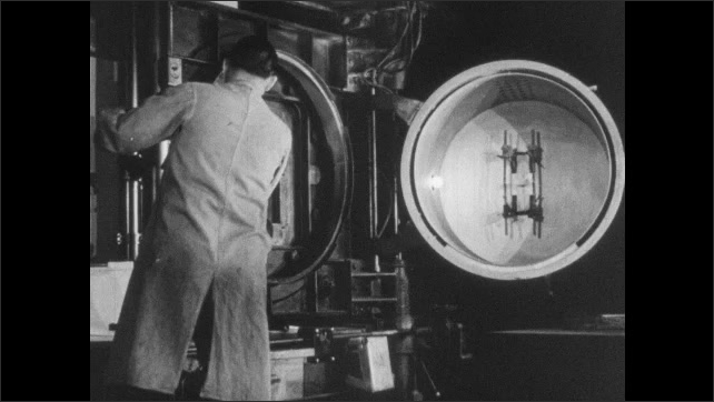 1940s: Man places photographic plate into mount, closes machine, flips switch, opens machine.