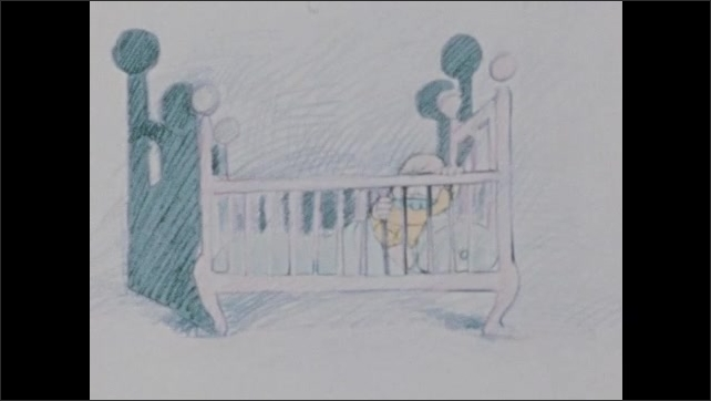 1970s: Child sits up in bed, flips switch on lamp next to bed. Child stands over baby crib, adjusting blanket on baby.