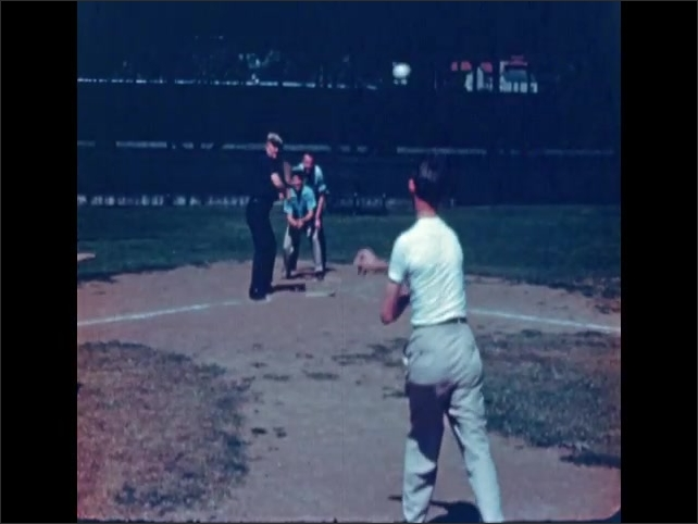 1940s: Playing baseball, pitcher strikes batter out.