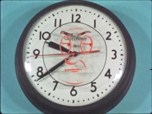1950s: Second hand on clock moves.