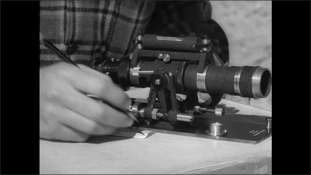 1940s: Man moves and adjusts surveying scope, uses ruler for placement. Man holds pole from ground to air with measurement marks on it, lays pole down and hammers stake into spot.