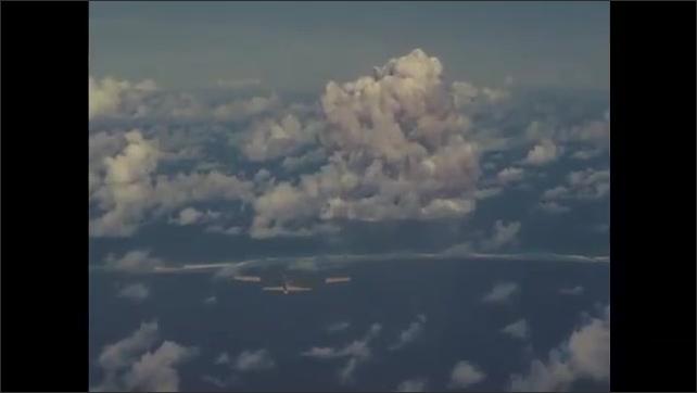 1940s Bikini Atoll: mushroom cloud from nuclear bomb experiment