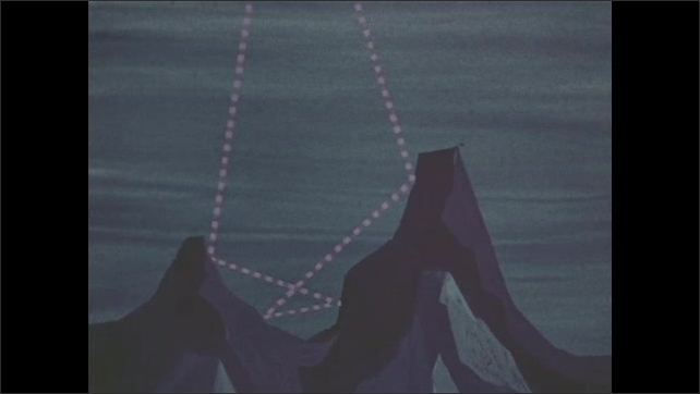 1960s: Animation of lines crossing ocean.  Dotted line to ocean floor.  Lines bounce off underwater mountains.  Submarines.  Boat.  Signal passes from ship to submarine.