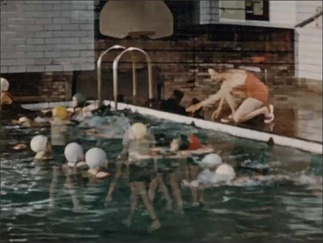 1950s: Kids play basketball in gym. Kids swim in pool.