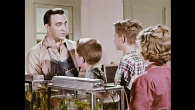 1950s: Man and children next to two aquariums talking. Children leave aquarium room followed by man.