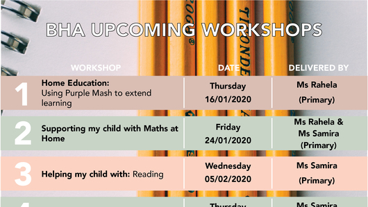BHA Upcoming Workshops
