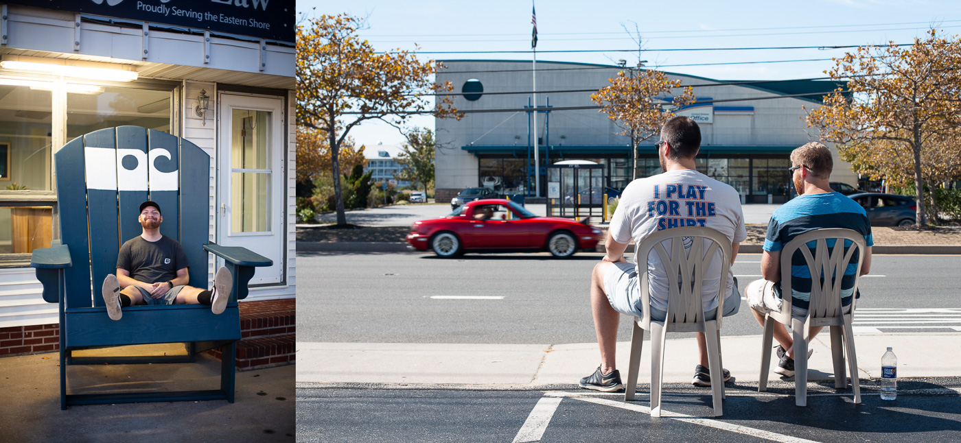 On the left Andrew finds himself in a rather large chair. On the right, David and Eddie sit outside of our hotel and watch the cars go by