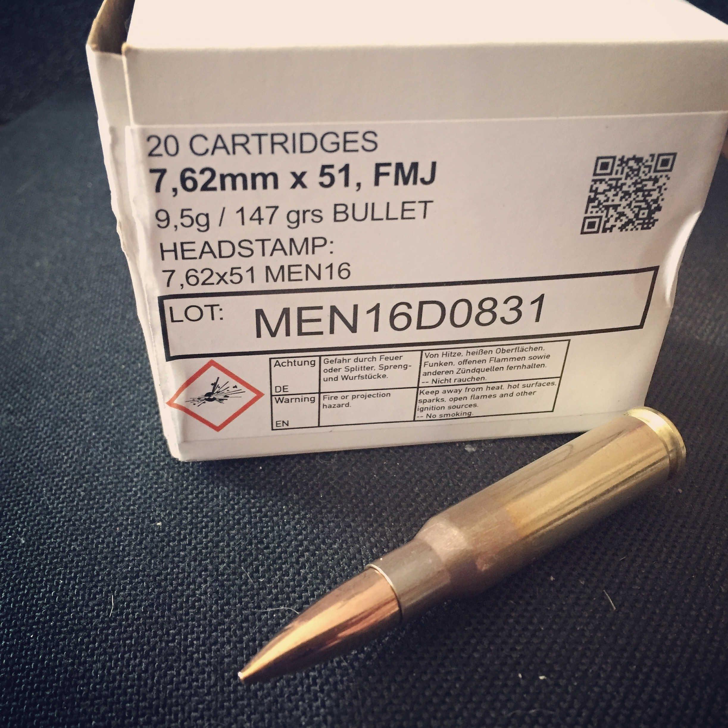7 62x51mm, 147gr FMJ, MEN, Velocity Test
