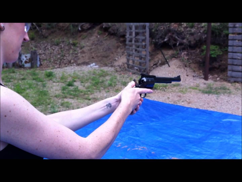 Wife Shoots Ruger Super BlackHawk- 44 Magnum