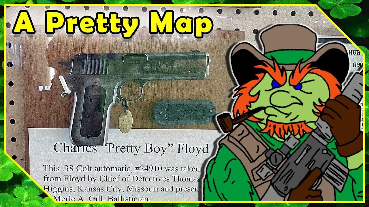 "JM Davis Gun Museum Claremore Oklahoma - ""Pretty Boy"" Floyd .38 Colt Auto Pistol Exhibit"