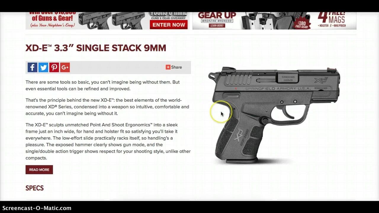The New Springfield Armory XDE XD-E 9mm pistol...the details so far!