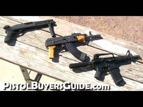 AK47 vs AR15 vs Lil Shotty - Short AK47 Pistol, Short AR-15 Pistol and Serbu Short Shotgun