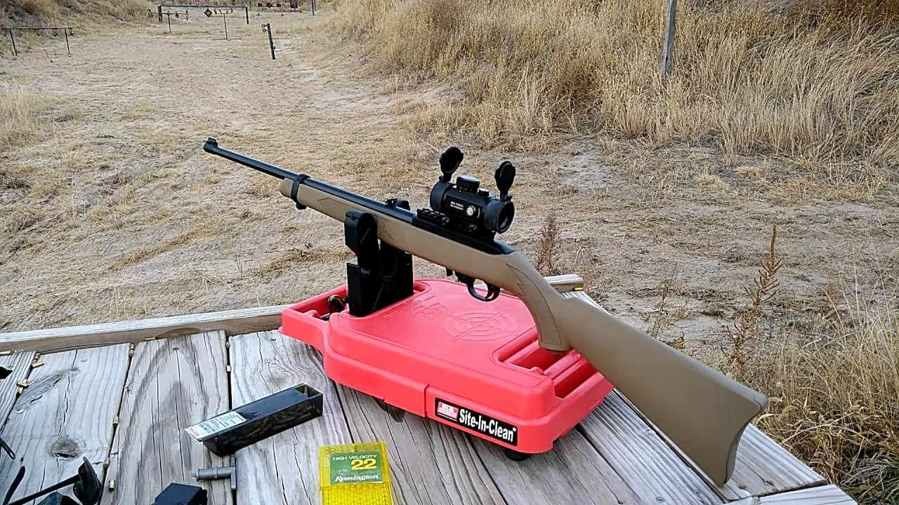 Ruger 10/22 out of the box, cheap dot sight accuracy and range report.