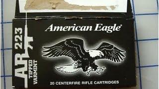 American Eagle 223 Rem Tipped Varmint 50 gr Ballistic Gel Test