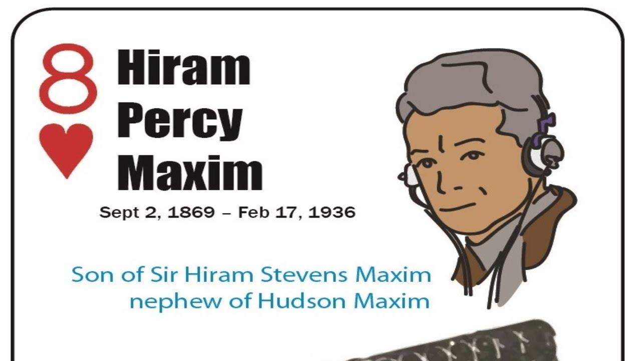 Hiram Percy Maxim - 8 Hearts - Firearm Inventors - Playing Card Deck