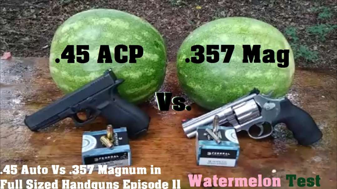 .45 Auto Vs .357 Magnum in Full Sized Handguns Episode 11. Watermelon Test