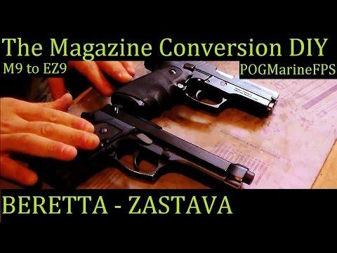 Beretta To Zastava Magazine Conversion - The EASIEST DIY on YouTube M9 92FS EZ9 CZ 999