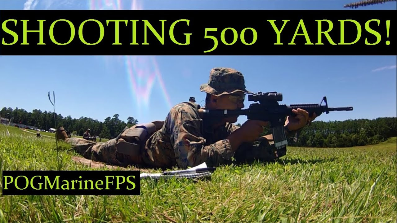 How to shoot 500 Yards away LIVE FIRE Marine Corps Shooting Range Weapon M4 Carbine