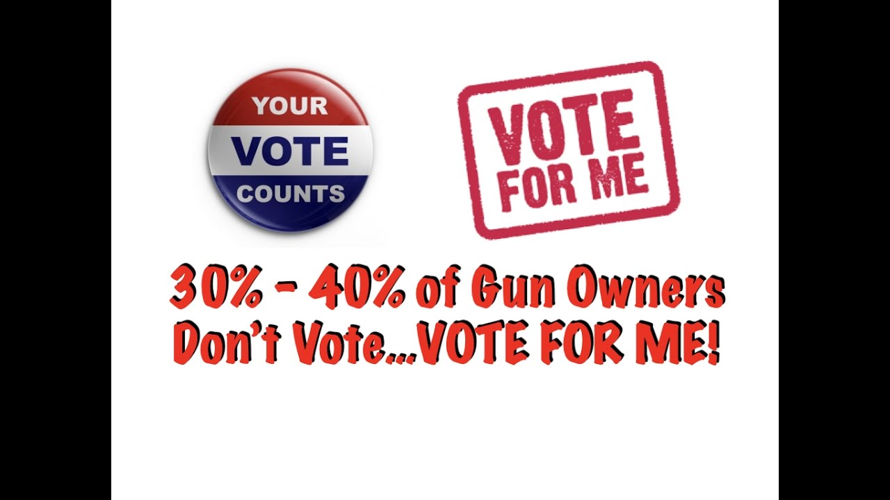 Go Vote! 30% - 40% of Gun Owners Don't Vote (VOTE FOR ME!)