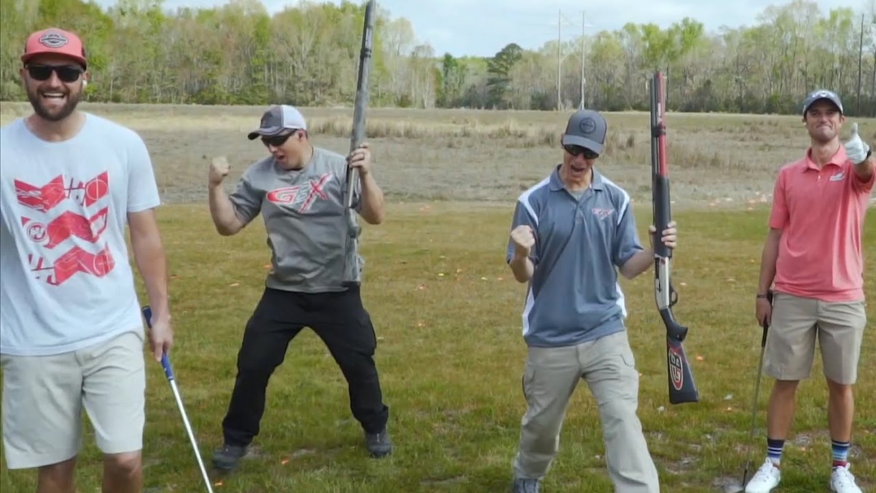 Shotgun Trick Shots: Golf Edition | ft. Bryan Bros and Holein1TrickShots | Gould Brothers