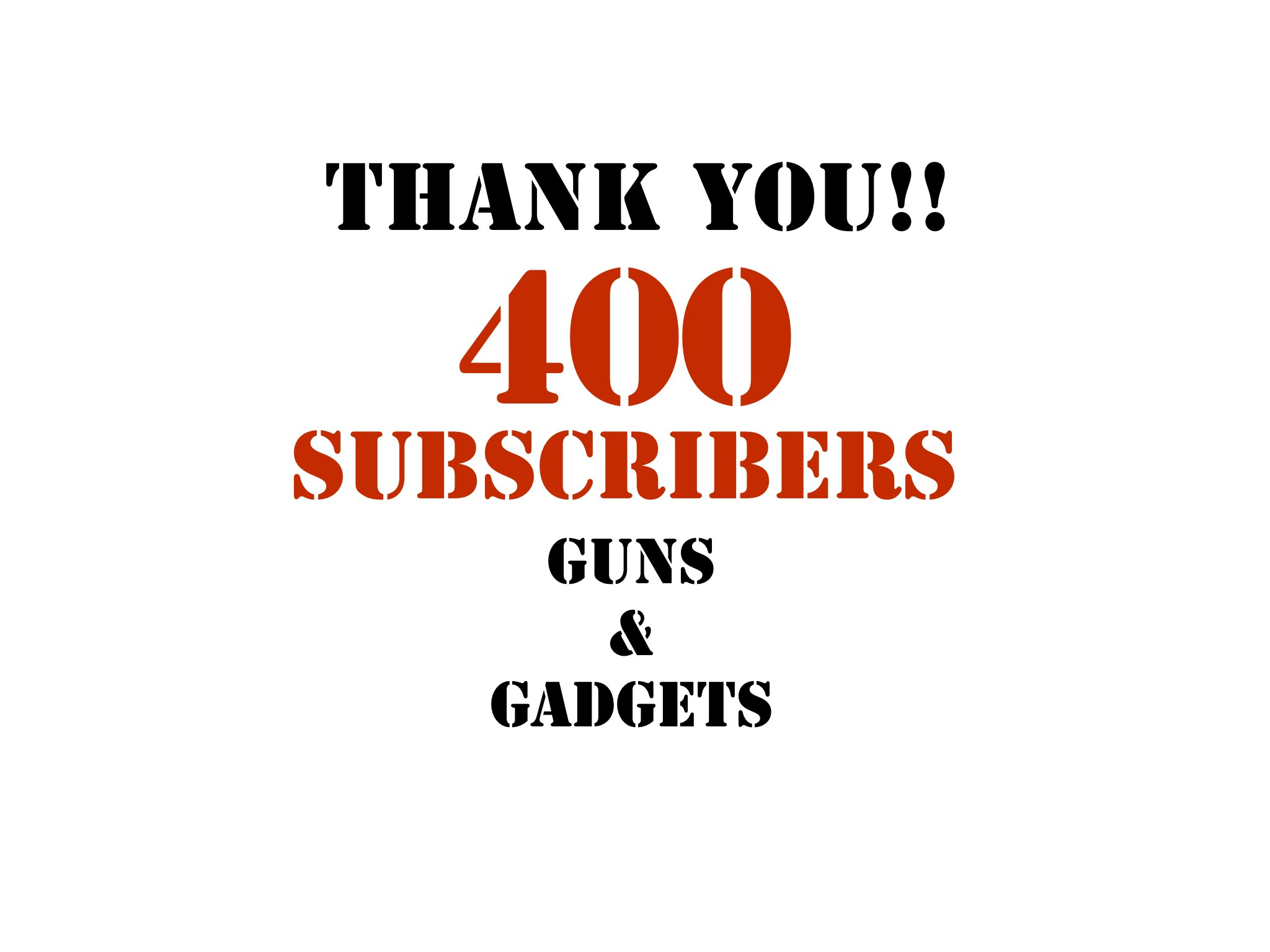 400 Subscribers: THANK YOU!