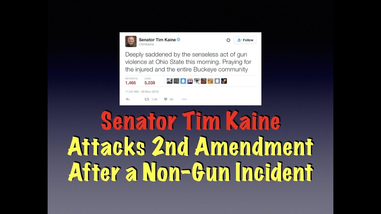 Senator Tim Kaine Attacks 2nd Amendment After a Non-Gun Incident