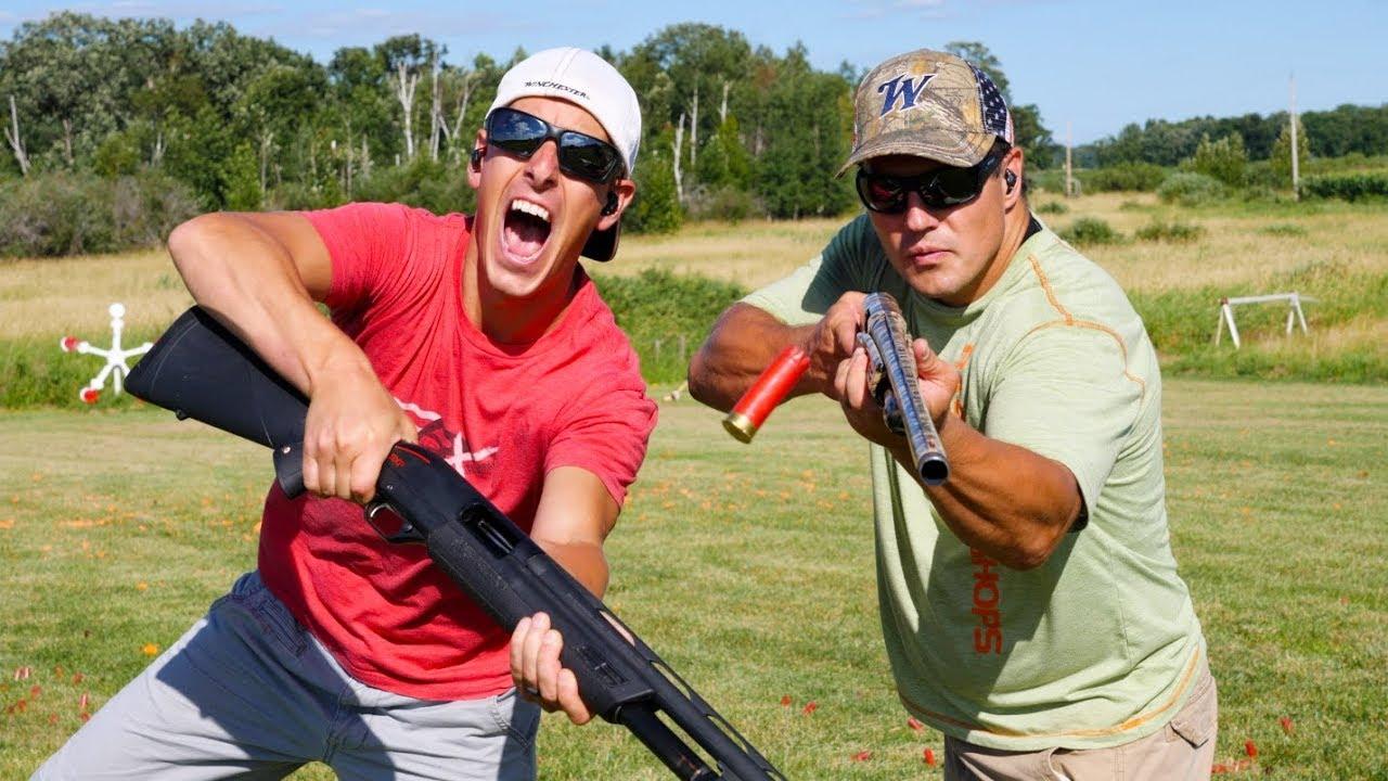 Winchester SXP Pump Shotgun Trick Shots | Shoot N Eject | Gould Brothers
