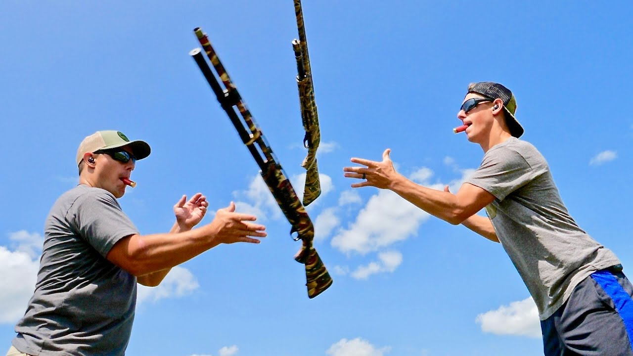 Winchester SXP Pump Shotgun Trick Shots | Throw N Loads | Gould Brothers