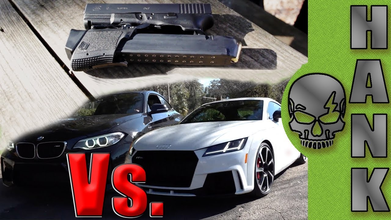 BMW M2 ClubSport Vs Audi TTRS & Glock 19 Folding Pistol