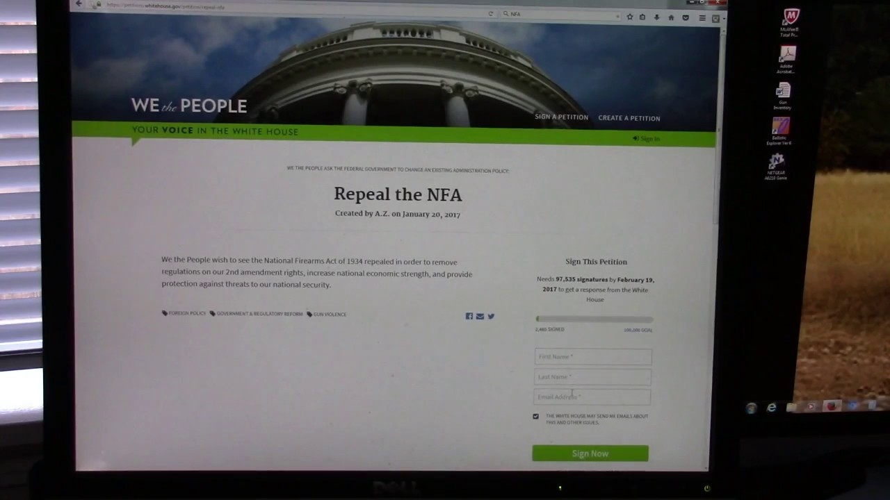 ***URGENT*** PETITION TO REPEAL THE NFA, Time to Take the Gloves Off
