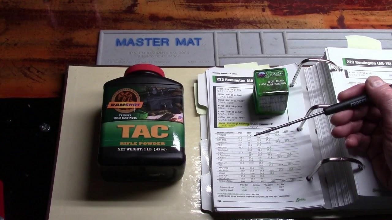Lee Beginning Reloading, 223/5.56, Video 20, TAC Powder By Ramshot, 24.7 Grains per Sierra Manual