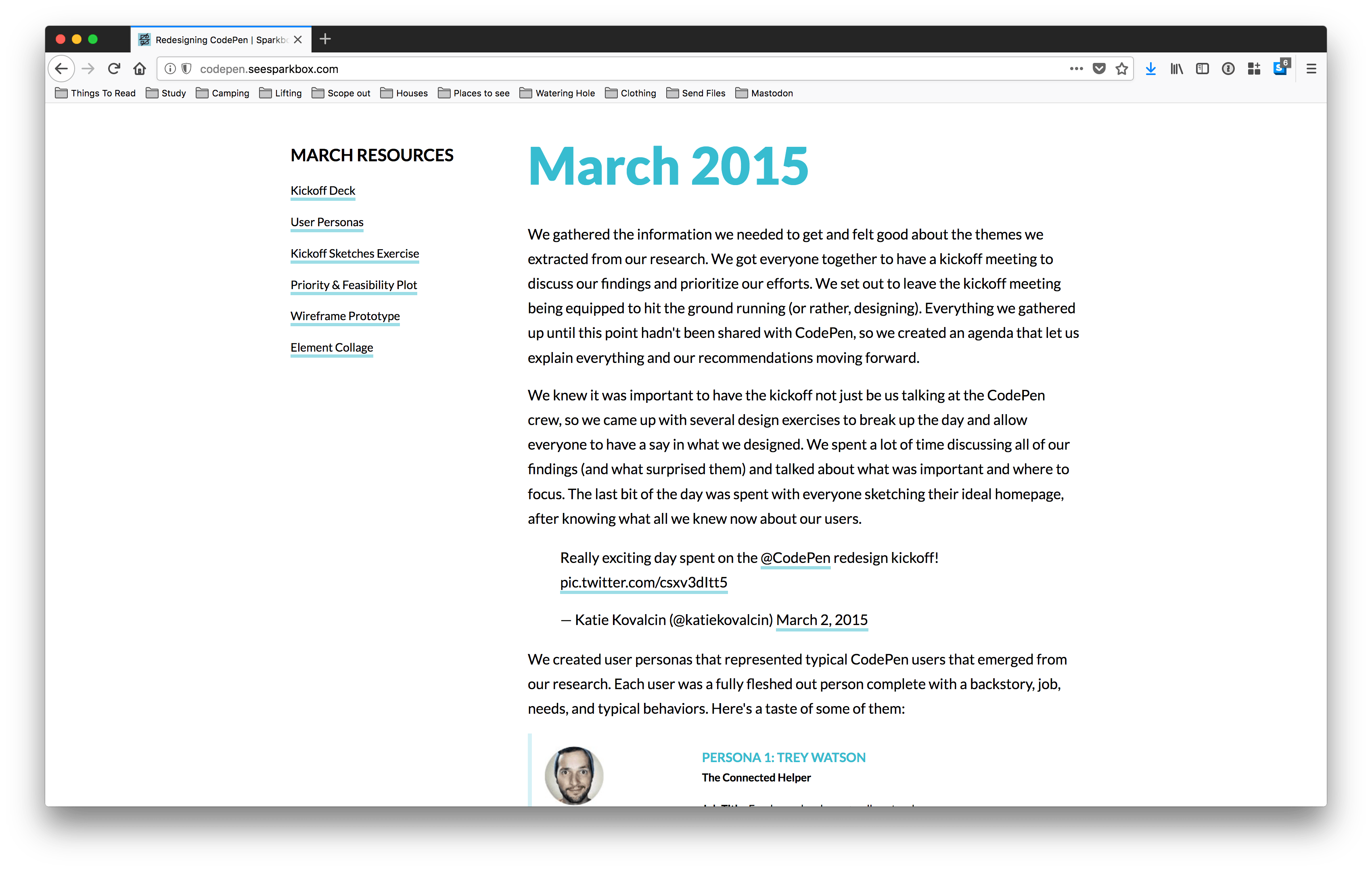 Image: This is a screenshot of the Codepen and Sparkbox collaboration. It shows all the different things that they did in March.