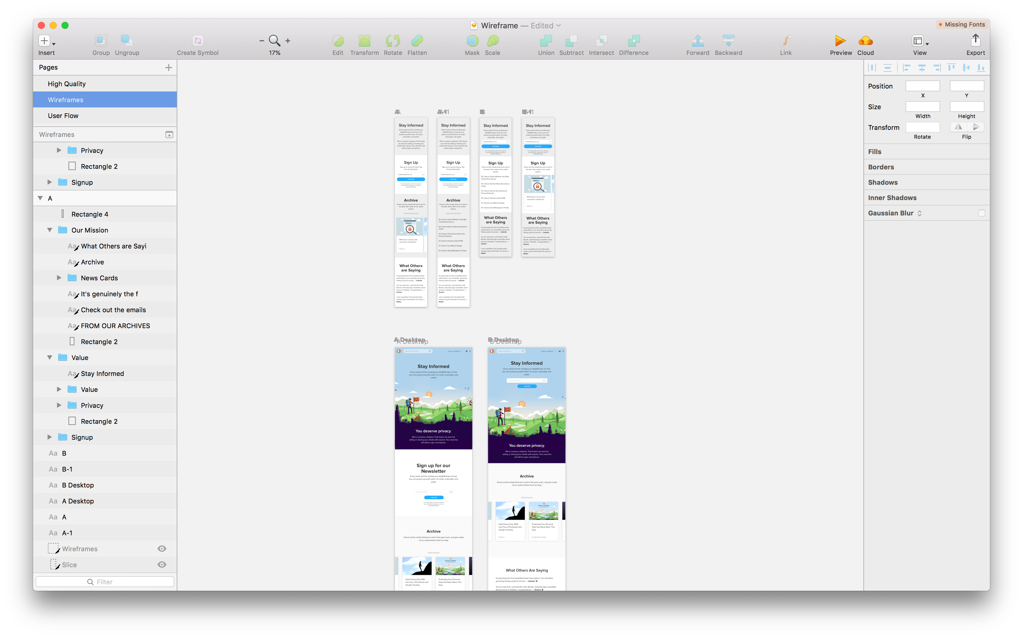 Image: This is a screenshot of Sketch showing the different layout variations in my wireframe.