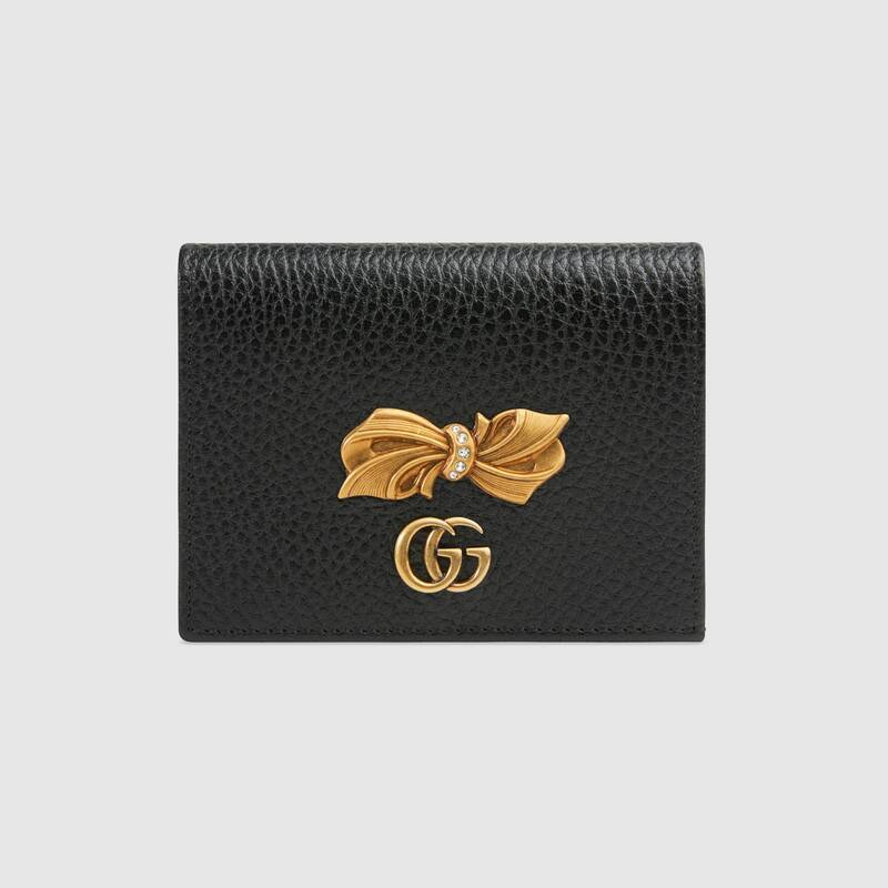 Gucci Leather Card Case Wallet With Bow Style Z524289 CAOXT 1163