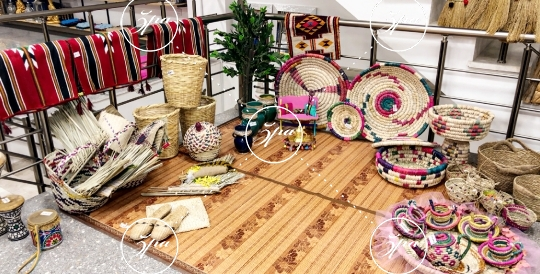Traditional handmade items showcased in a store in Baghdad, Iraq