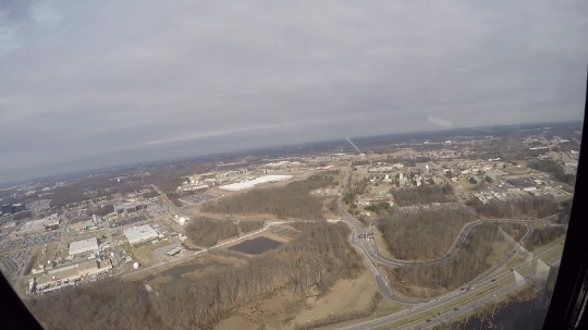 A helicopter hovering over Annapolis, MD, USA