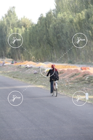 A Chinese Uighur woman on bicycle